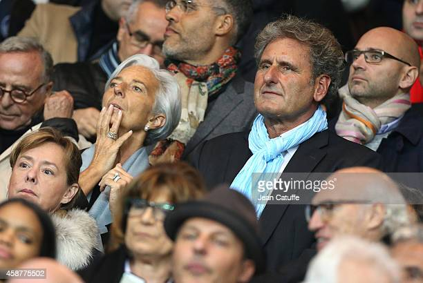 Christine Lagarde and his boyfriend Xavier Giocanti attend the French Ligue 1 match between Paris SaintGermain FC and Olympique de Marseille OM at...