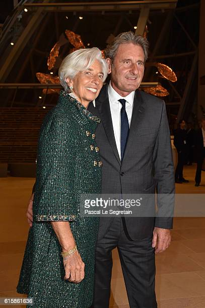 Christine Lagarde and Xavier Giocanti attend a Cocktail for the opening of Icones de l'Art Moderne La Collection Chtchoukineat Fondation Louis...