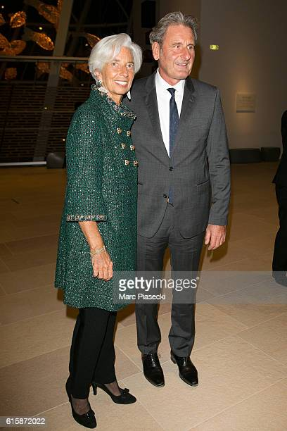 Christine Lagarde and Xavier Giocanti attend the 'Icones de l'Art Moderne La Collection Chtchoukine' at Fondation Louis Vuitton on October 20 2016 in...