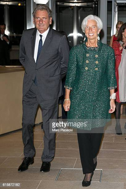 Christine Lagarde and Xavier Giocanti attend the 'Icones de l'Art Moderne, La Collection Chtchoukine' at Fondation Louis Vuitton on October 20, 2016...
