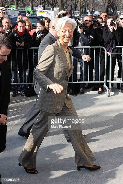 Christine Lagarde arrives at the Chanel Ready to Wear Autumn/Winter 2011/2012 show during Paris Fashion Week at Grand Palais on March 8, 2011 in...