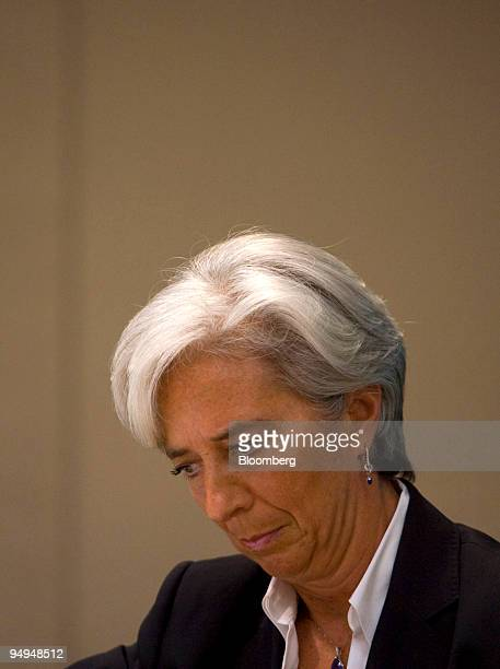 Christine Lagarde France's finance minister looks through her notes before a keynote speech at the Global Financial Forum in New York US on Monday...