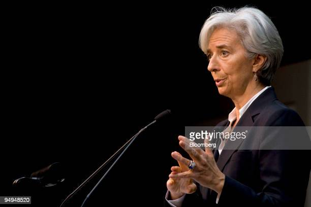 Christine Lagarde France's finance minister speaks at the Global Financial Forum in New York US on Monday April 27 2009 Lagarde said today that the...