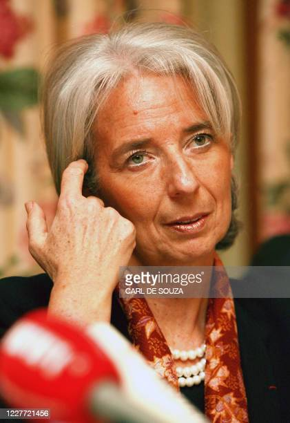 Christine Lagarde French Finance Minister addresses the media after the G20 Finance Ministers meeting at the South Lodge Hotel in Horsham West Sussex...