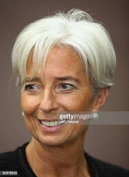 Christine Lagarde French Finance Minister talks with the media at the end of the G20 finace ministers meeting on November 7 2009 in St Andrews...