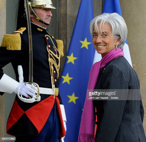 Christine Lagarde, French Minister of Finance enters Elysee Palace