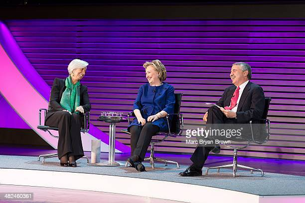 Christine Lagarde Hillary Rodham Clinton and Thomas L Friedman attend the 5th Annual Women In The World Summit at David H Koch Theater Lincoln Center...