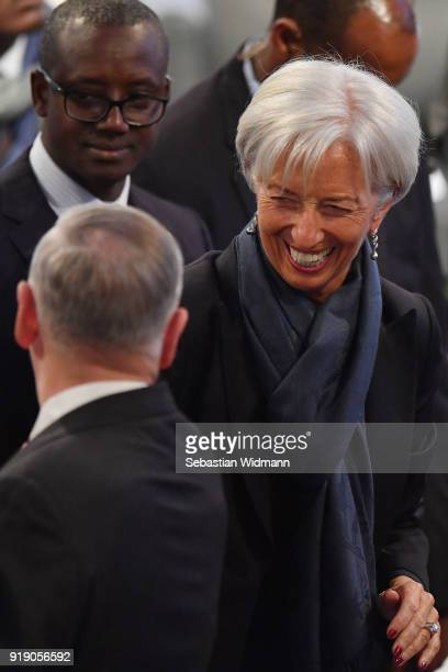 Christine Lagarde IMF director arrives at the 2018 Munich Security Conference on February 16 2018 in Munich Germany The annual conference which...