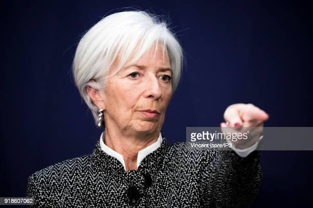 Christine Lagarde IMF director participate in the conference Transforming the French economy and deepening the integration of the euro zone in Bercy...