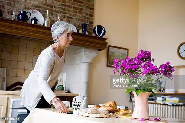 Christine Lagarde In Her House In Normandy. Christine LAGARDE, ministre de l'Economie, nous recoit chez elle dans sa maison de campagne en Normandie....