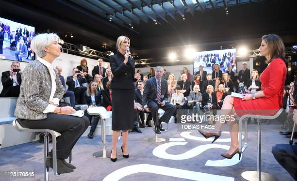 Christine Lagarde Managing Director and Chairwoman of the International Monetary Fund and host Morgan Ortagus listen to White House Presidential...