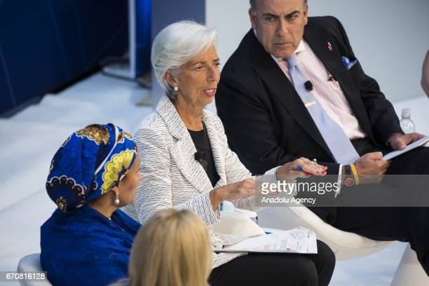 Christine Lagarde Managing Director of IMF speaks during a panel discussion on 'Gender and Macroeconomics What's Next' during the the 2017 IMF Spring...