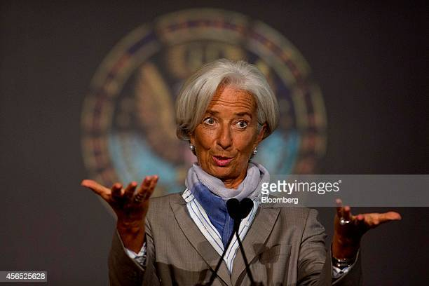 Christine Lagarde managing director of International Monetary Fund speaks at Georgetown University in Washington DC US on Thursday Oct 2 2014 The...