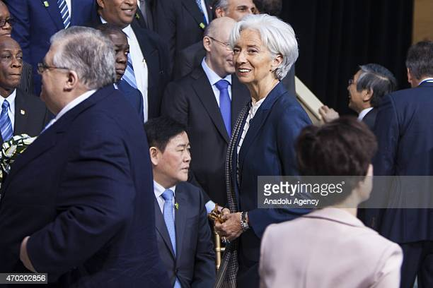 Christine Lagarde Managing Director of the IMF arrives for a family photo with the IMF Governors during the 2015 IMF/World Bank Spring Meetings in...