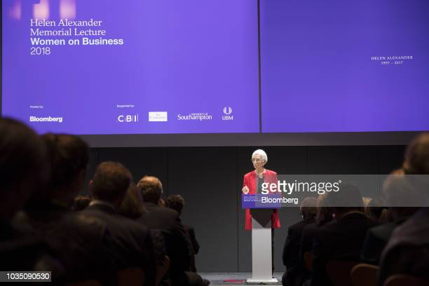 Christine Lagarde managing director of the International Monetary Fund delivers a speech in London UK on Monday Sept 17 2018 Lagarde said the world...