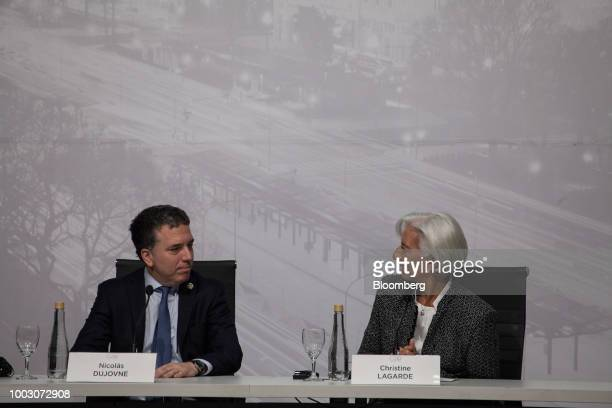 Luis Caputo president of Argentina's central bank speaks at a news conference with Nicolas Dujovne Argentina's treasury minister not pictured during...