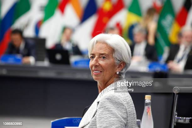 Christine Lagarde managing director of the International Monetary Fund attends the plenary at the G20 Leaders' Summit in Buenos Aires Argentina on...