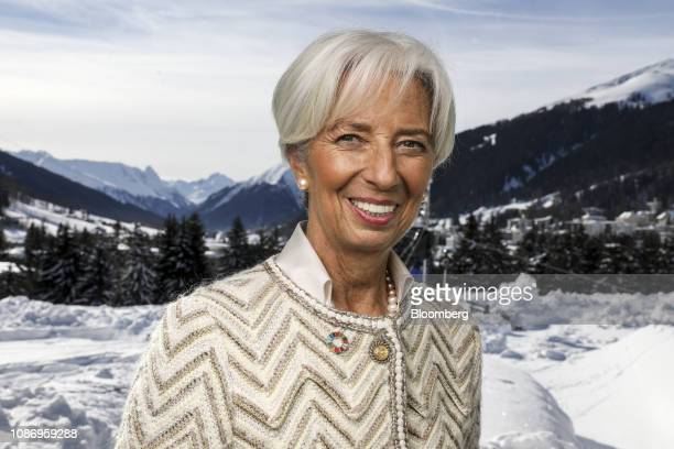 Christine Lagarde managing director of the International Monetary Fund poses for a photograph following a Bloomberg Television interview on day two...