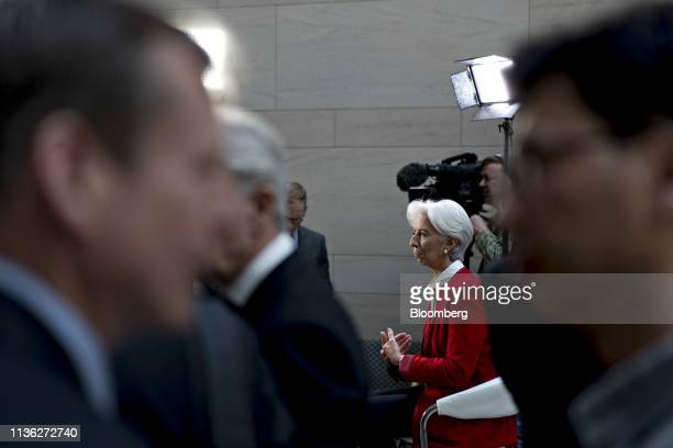 Christine Lagarde, managing director of the International Monetary Fund , speaks during a Bloomberg Television interview at the spring meetings of...