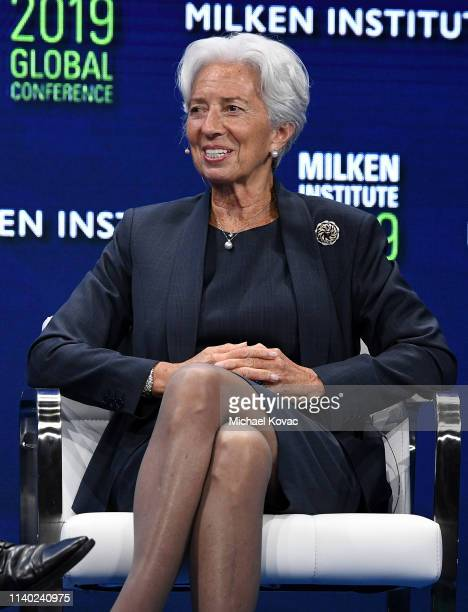 Christine Lagarde managing director of the International Monetary Fund participates in a panel discussion during the annual Milken Institute Global...