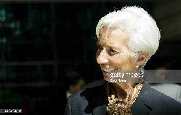 Christine Lagarde managing director of the International Monetary Fund smiles as she arrives at Sasana Kijang Center which houses Bank Negara...