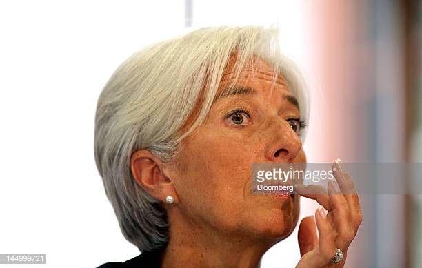 Christine Lagarde managing director of the International Monetary Fund gestures during a news conference following the publication of the IMF's...