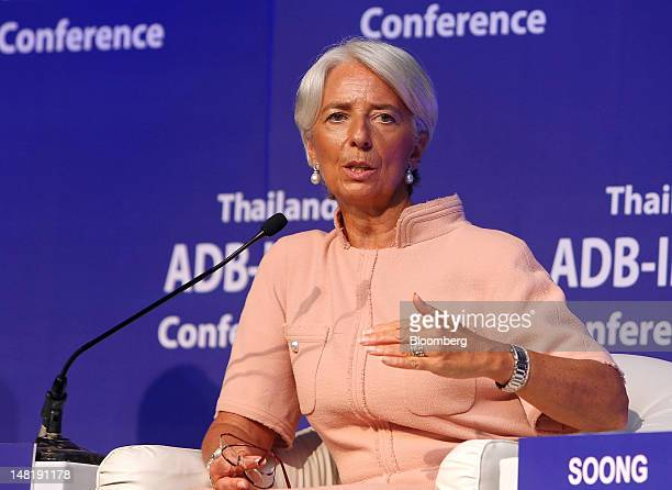 Christine Lagarde managing director of the International Monetary Fund speaks during a conference in Bangkok Thailand on Thursday July 12 2012 The...
