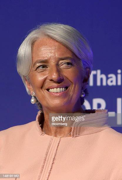 Christine Lagarde managing director of the International Monetary Fund reacts during a conference in Bangkok Thailand on Thursday July 12 2012 The...