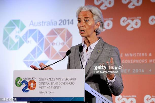 Christine Lagarde Managing Director of the International Monetary Fund speaks to the media at the close of the G20 Finance Ministers and Central Bank...