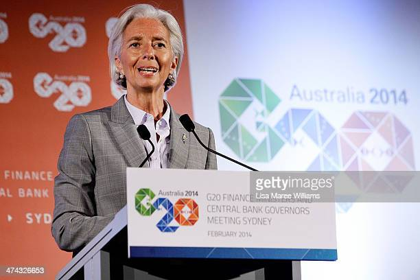 Christine Lagarde, Managing Director of the International Monetary Fund speaks to the media at the close of the G20 Finance Ministers and Central...