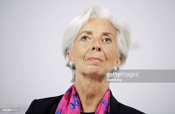 Christine Lagarde managing director of the International Monetary Fund looks on during a panel session at the Hofburg Palace in Vienna Austria on...
