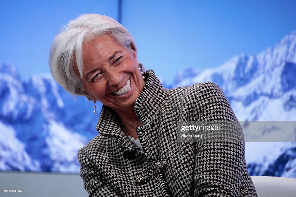 Christine Lagarde, managing director of the International Monetary Fund (IMF), reacts during a panel session at the World Economic Forum (WEF) in Davos, Switzerland, on Wednesday, Jan. 18, 2017. World leaders, influential executives, bankers and policy makers attend the 47th annual meeting of the World Economic Forum in Davos from Jan. 17 - 20. Photographer: Jason Alden/Bloomberg via Getty Images
