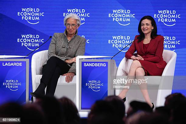 Christine Lagarde managing director of the International Monetary Fund left and Sheryl Sandberg billionaire and chief operating officer of Facebook...
