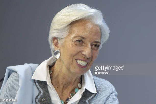 Christine Lagarde managing director of the International Monetary Fund and annual meeting cochair reacts during a Bloomberg Television interview...