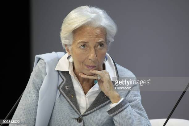 Christine Lagarde managing director of the International Monetary Fund and annual meeting cochair pauses during a Bloomberg Television interview...
