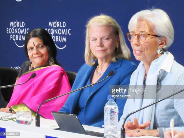 Christine Lagarde managing director of the International Monetary Fund speaks at a press conference during the World Economic Forum in Davos...