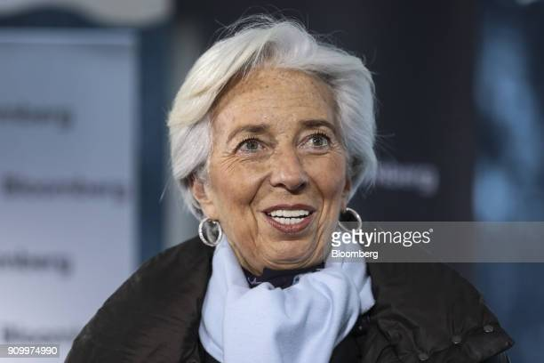 Christine Lagarde managing director of the International Monetary Fund speaks during a Bloomberg Television interview on day three of the World...