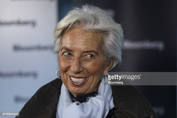 Christine Lagarde managing director of the International Monetary Fund reacts during a Bloomberg Television interview on day three of the World...