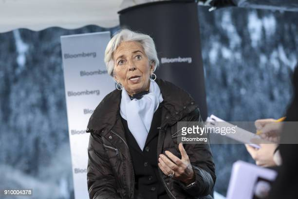 Christine Lagarde managing director of the International Monetary Fund gestures as she speaks during a Bloomberg Television interview on day three of...