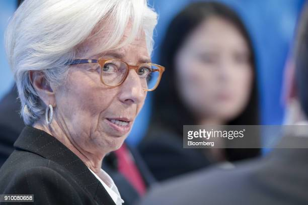 Christine Lagarde managing director of the International Monetary Fund speaks during a panel session on day three of the World Economic Forum in...
