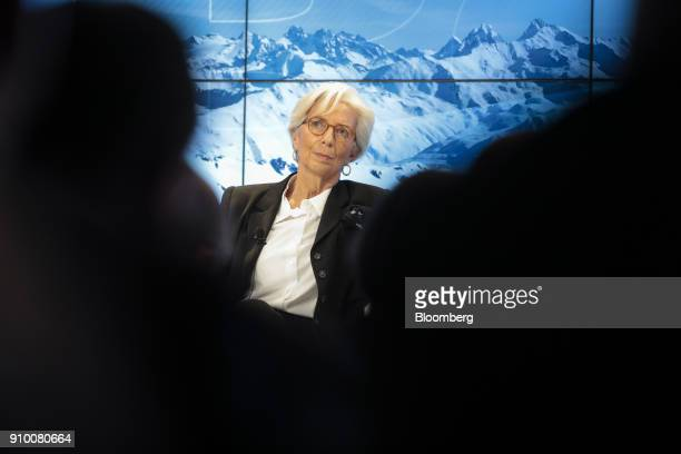 Christine Lagarde managing director of the International Monetary Fund looks on during a panel session on day three of the World Economic Forum in...