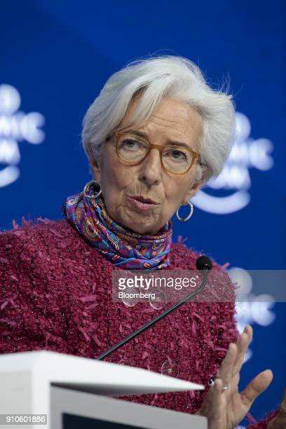 Christine Lagarde managing director of the International Monetary Fund speaks during a panel session on the closing day of the World Economic Forum...