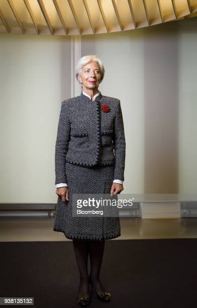 Christine Lagarde managing director of the International Monetary Fund poses for a photograph following a Bloomberg Television interview in Berlin...