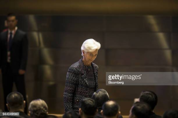 Christine Lagarde managing director of the International Monetary Fund walks off stage after speaking at the Boao Forum for Asia Annual Conference in...