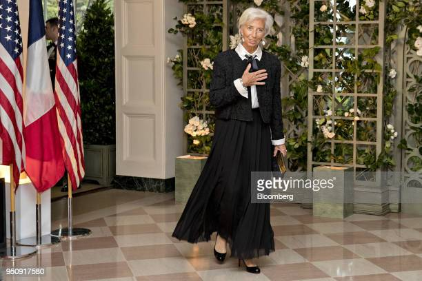 Christine Lagarde managing director of the International Monetary Fund arrives for a state dinner in honor of French President Emanuel Macron at the...