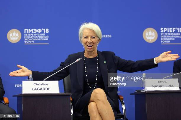Christine Lagarde managing director of the International Monetary Fund gestures while speaking at the St Petersburg International Economic Forum in...