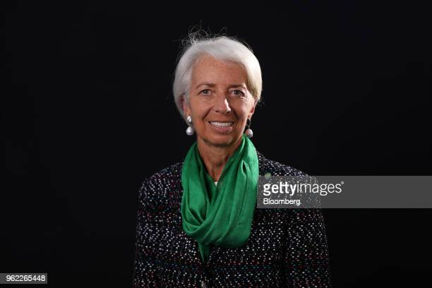 Christine Lagarde managing director of the International Monetary Fund poses for a photograph following a Bloomberg Television interview at the St...