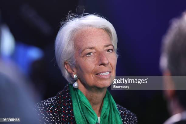 Christine Lagarde managing director of the International Monetary Fund speaks during a Bloomberg Television interview at the St Petersburg...