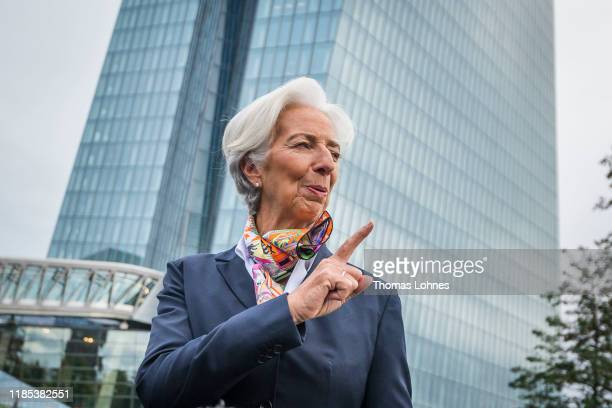 Christine Lagarde new president of the European Central Bank speaks to the media as she arrives for work at ECB headquarters following her recent...
