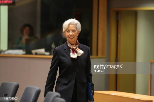 Christine Lagarde President of European Central Bank at the roundtable during the European Council Euro Summit EU leaders meeting on the second day...